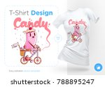 candy on a bicycle. prints on t ... | Shutterstock .eps vector #788895247