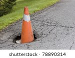 Pot hole - stock photo