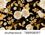 Stock vector roses flowers leaves branches and berries of dog rose floral vintage seamless pattern gold 788908597