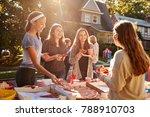 teen girls eating pizza and... | Shutterstock . vector #788910703