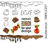 set of flat color chocolate... | Shutterstock .eps vector #788911357