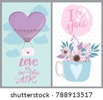 set of cute cards with romantic ... | Shutterstock .eps vector #788913517