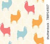 cute llama seamless pattern...   Shutterstock .eps vector #788914507