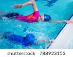 swimming lesson. cute little... | Shutterstock . vector #788923153