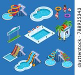 water park and swimming pool... | Shutterstock .eps vector #788925343