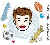 cute boy face  human head.... | Shutterstock .eps vector #788925397