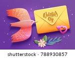 bird love card. happy... | Shutterstock .eps vector #788930857