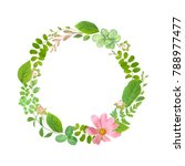 greenery wreath with green... | Shutterstock .eps vector #788977477