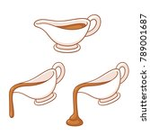 gravy boat drawing set. sauce... | Shutterstock .eps vector #789001687