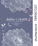 cute wedding invitation with... | Shutterstock .eps vector #789007237