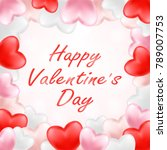happy valentine day with pink... | Shutterstock .eps vector #789007753