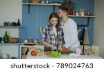 happy young couple in the... | Shutterstock . vector #789024763