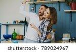 joyful couple have fun dancing... | Shutterstock . vector #789024967