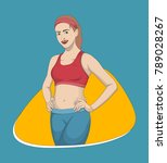 fitness girl vector illustration | Shutterstock .eps vector #789028267