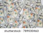 background of 100 dollar bills. ... | Shutterstock . vector #789030463