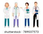 people in white coats... | Shutterstock . vector #789037573