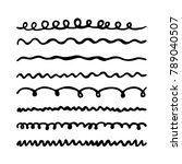 wavy lines drawn with a marker. ... | Shutterstock .eps vector #789040507