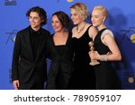 Small photo of LOS ANGELES - JAN 7: Timothee Chalamet, Laurie Metcalf, Greta Gerwig, Saoirse Ronan at the 75th Golden Globes Press Room at Beverly Hilton Hotel on January 7, 2018 in Beverly Hills, CA