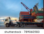 lorry trailer and truck... | Shutterstock . vector #789060583