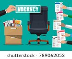 office chair and sign vacancy... | Shutterstock . vector #789062053
