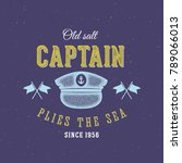 retro sea captain label or logo ... | Shutterstock . vector #789066013