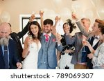 bride and groom are dancing and ... | Shutterstock . vector #789069307