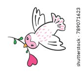 hand drawn flying bird with... | Shutterstock .eps vector #789071623