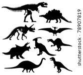 antigua,negro,hueso,brontosaurio,dinosaurio,dinosaurio,grupo,icono,aislado,antiguo,esquema,prehistórico,pterosaurio,conjunto,silueta