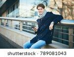 young businessman using smart... | Shutterstock . vector #789081043