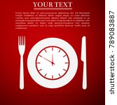 plate with clock  fork and... | Shutterstock .eps vector #789083887