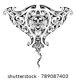 maori style tattoo design for... | Shutterstock .eps vector #789087403
