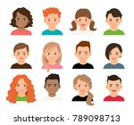 teenagers or pupil kids faces. ... | Shutterstock . vector #789098713