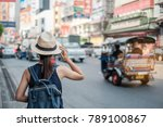 young woman traveling... | Shutterstock . vector #789100867