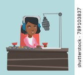 young african american radio... | Shutterstock .eps vector #789103837