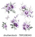 watercolor flowers. set floral... | Shutterstock . vector #789108343