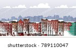 vector art frozen urban scene.... | Shutterstock .eps vector #789110047