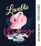 lovable flamingo graphic vector | Shutterstock .eps vector #789115483