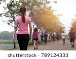group of people exercise... | Shutterstock . vector #789124333
