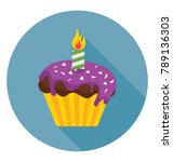 candle cupcake flat colored... | Shutterstock .eps vector #789136303