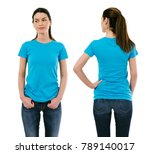 Small photo of Photo of a beautiful brunette woman posing with a blank light blue t-shirt, ready for your artwork or design.