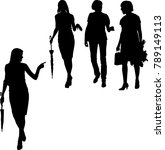 a group of black silhouettes of ... | Shutterstock .eps vector #789149113