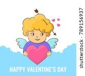 happy valentines day. angel...   Shutterstock .eps vector #789156937