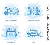 modern flat color line concept... | Shutterstock .eps vector #789167293