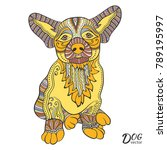 hand drawn stylized dog ... | Shutterstock .eps vector #789195997
