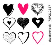 set hand drawn hearts isolated... | Shutterstock .eps vector #789212887