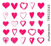 set hand drawn hearts isolated... | Shutterstock .eps vector #789213163