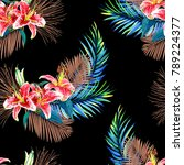 seamless floral pattern with... | Shutterstock . vector #789224377