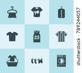 set of 9 shirt filled icons... | Shutterstock .eps vector #789244057