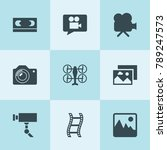 set of 9 camera filled icons... | Shutterstock .eps vector #789247573