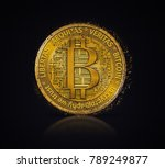 golden bitcoin coin in fire... | Shutterstock . vector #789249877